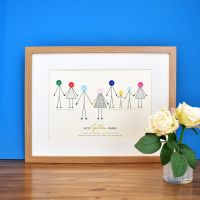 large personalised golden wedding anniversary print (unframed)