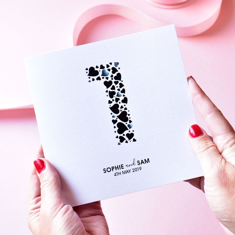 personalised love hearts anniversary card