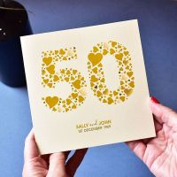 personalised love hearts golden anniversary card