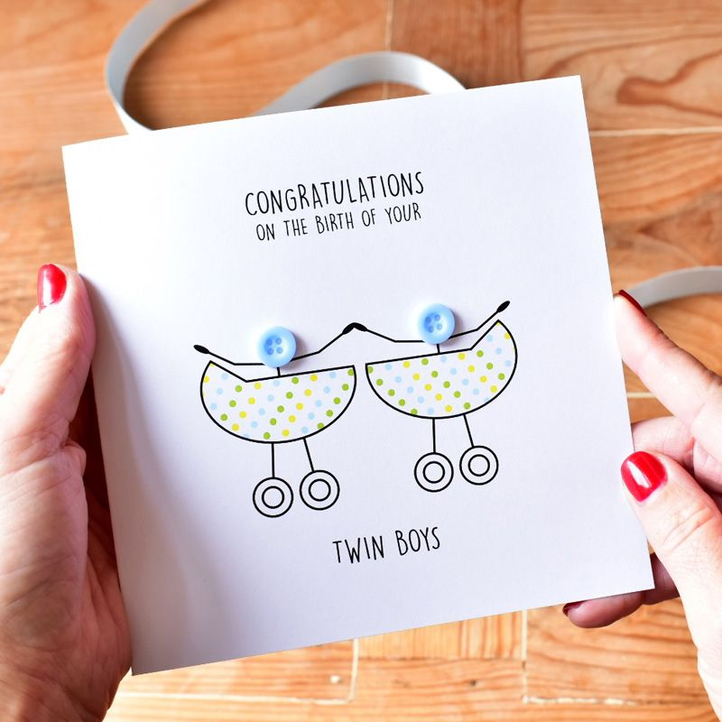 newborn twin boys congratulations card