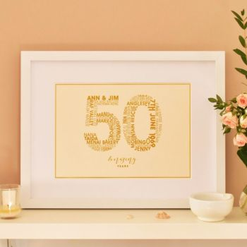 personalised golden anniversary print (unframed)