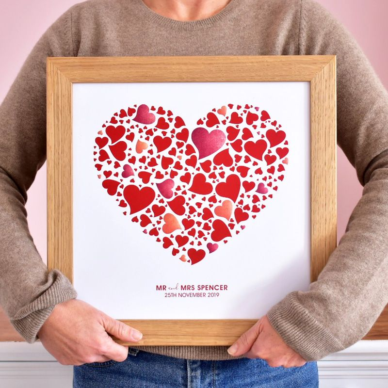 personalised lots of love hearts print in red