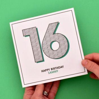 personalised 16th birthday card