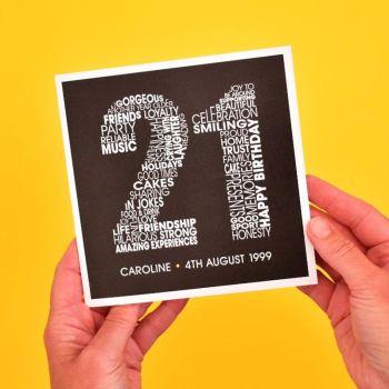 personalised 21st birthday card