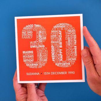 personalised 30th birthday card