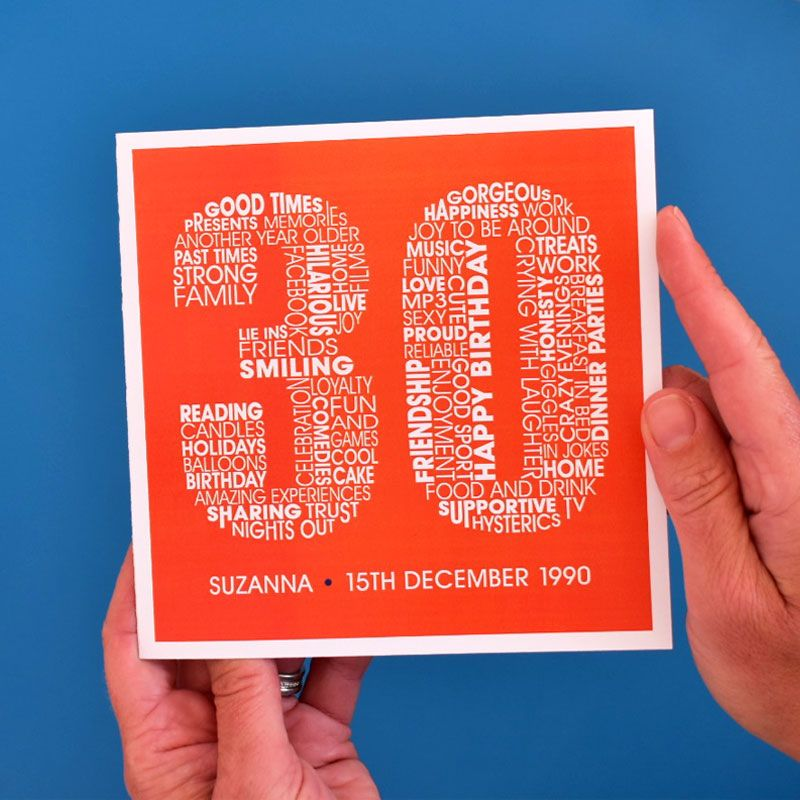 personalised 30th birthday card for females