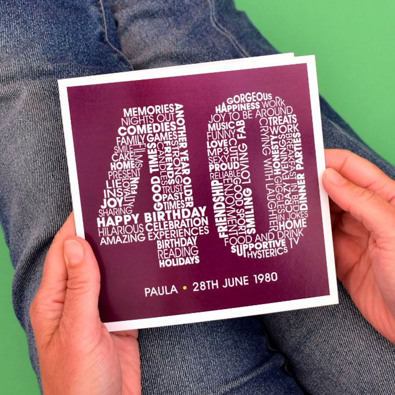 personalised 40th birthday card for women