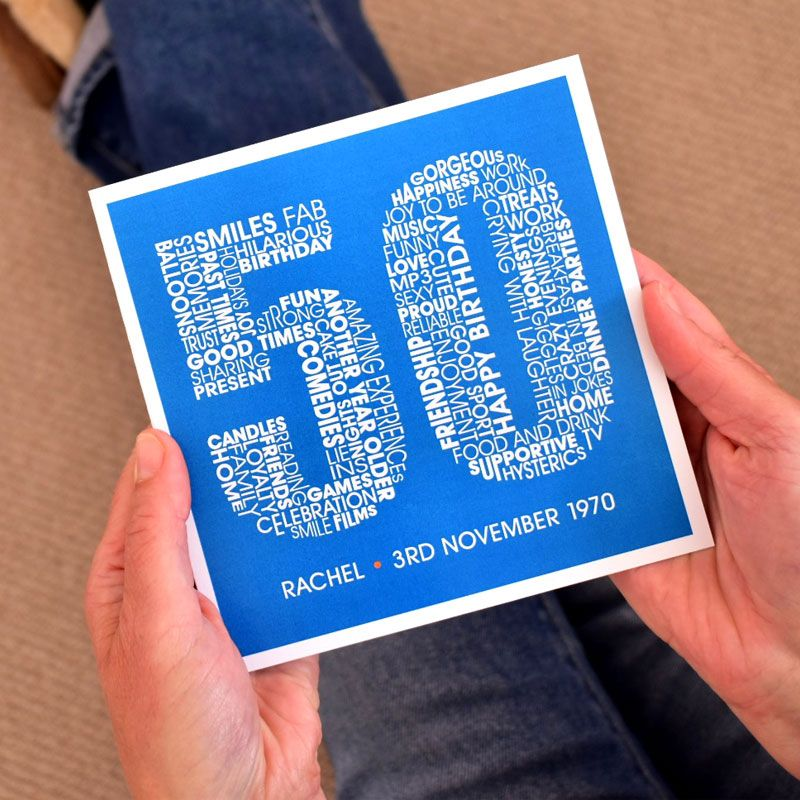 personalised 50th birthday card for women
