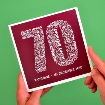 personalised 70th birthday card