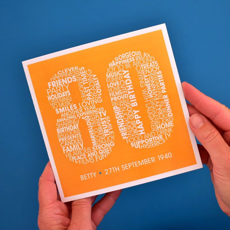 personalised 80th birthday card for women