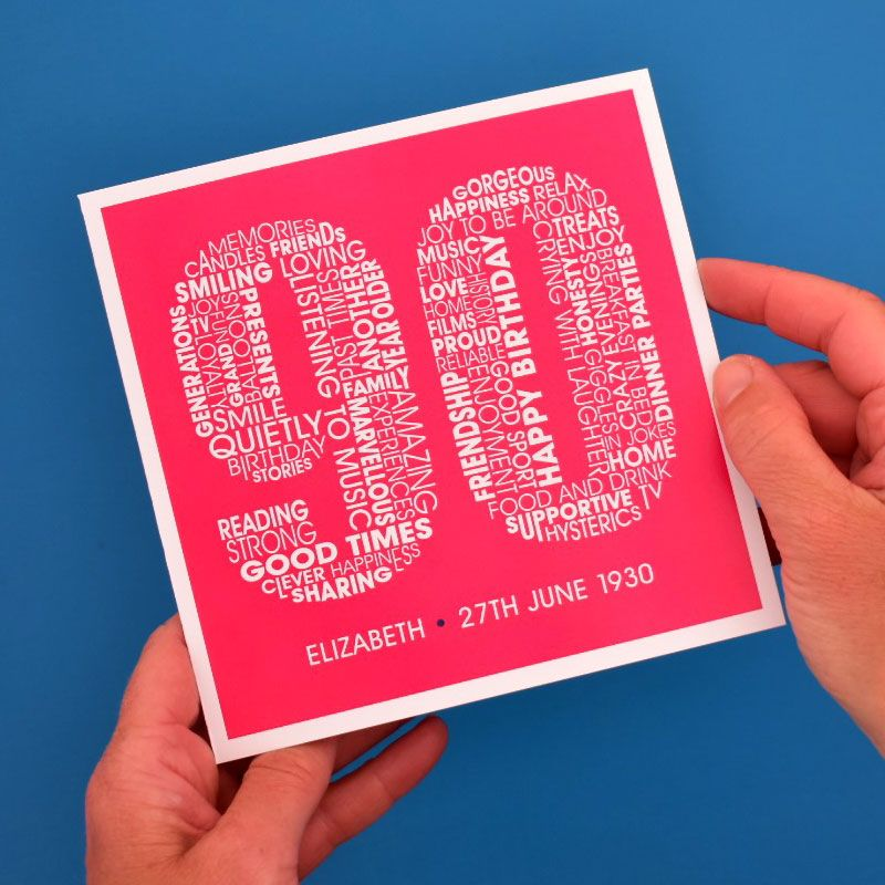 personalised 90th birthday card for women