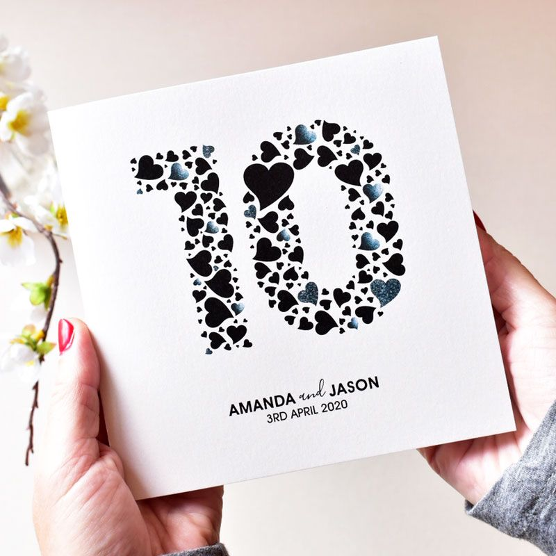love heart numbers anniversary cards