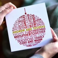 personalised christmas decoration card for couples