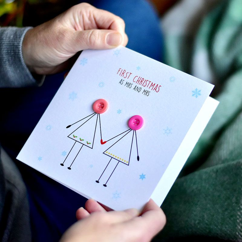 personalised first christmas as mrs and mrs card