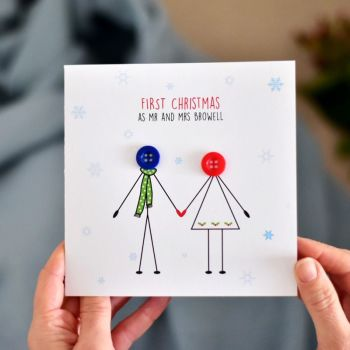 personalised first christmas as mr and mrs card