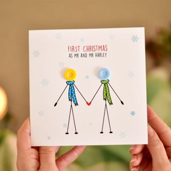 personalised first christmas as mr and mr card