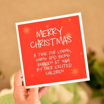 over excited children christmas card