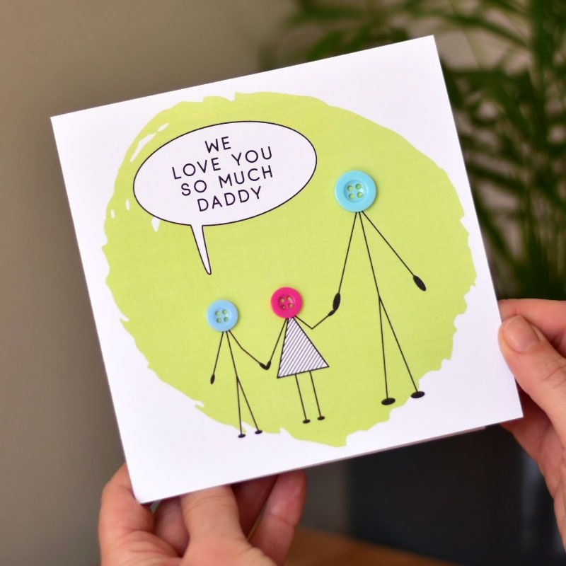 """""""love you dad"""" button people card"""