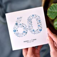 personalised love hearts diamond anniversary card