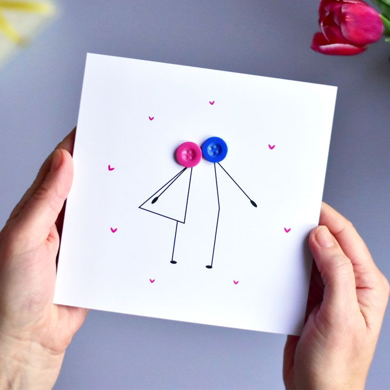 kissing button people card