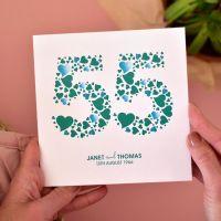 personalised love hearts emerald anniversary card
