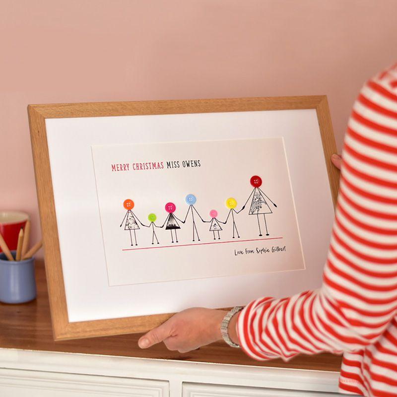 personalised teacher and children Christmas print