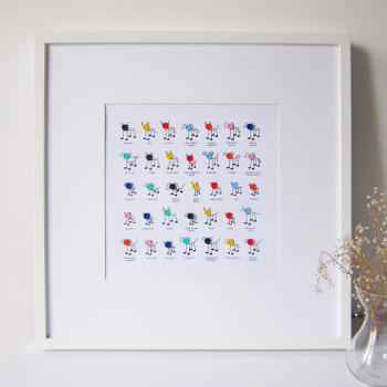 lots of button dogs print (unframed)