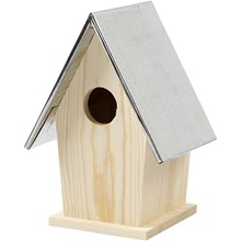 Bird box with zinc roof. Made from pine