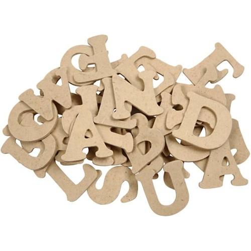 Wooden Letters. Height 4cm. Thickness 2.5mm. Pack with 26 asstd. each of 3