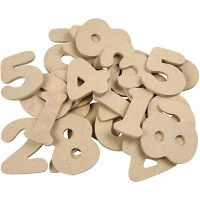 Wooden Numbers - Assortment, H: 4 cm, MDF