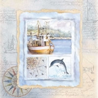 Maritime Card Napkin. 33 cm x 33 cm