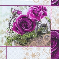 Frozen Roses napkin. 25 cm x 25 cm.