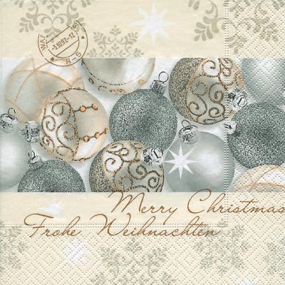Silver Shiny Balls napkin. 25 cm x 25 cm.