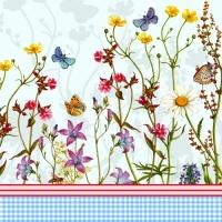 Flowery napkin. 33 cm x 33 cm.