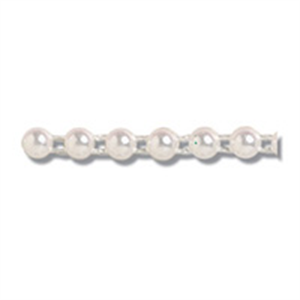 White Pearl Beading: Flat Back: 4mm wide: price per metre