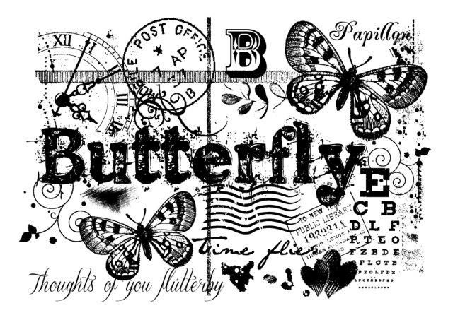 Woodware Clear Singles - Butterfly Collage