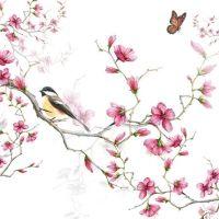 Bird & Blossom White - 25 x 25 cm