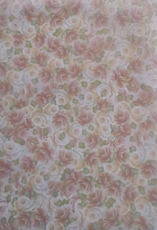 Vellum. Delicate Pink & cream roses with soft green leaves .