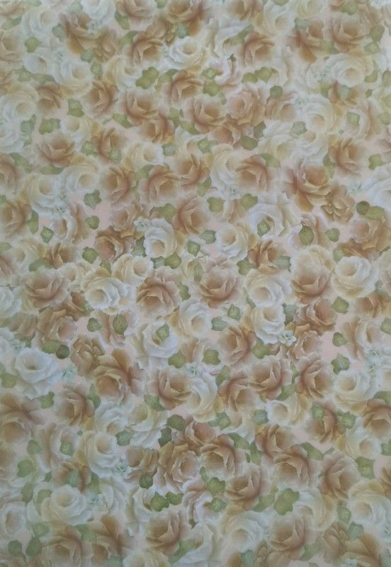Vellum. Delicate cream & white roses with soft green leaves .