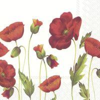 Poppy White Napkin - 33 cm x 33 cm.