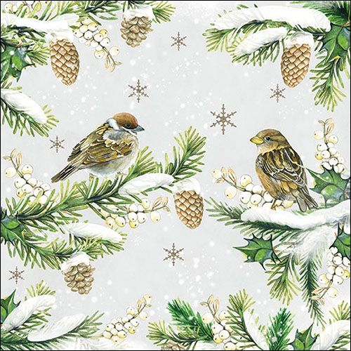 Sparrows in Snow Napkin - 33314740