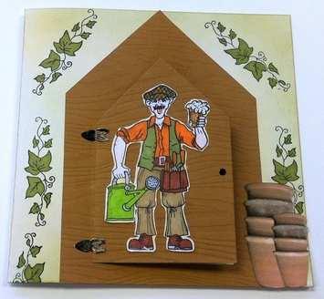 Envelope Card Template - Garden Shed - Door closed