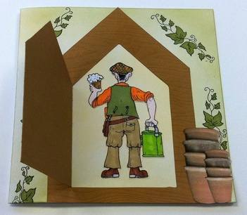 Envelope Card Template - Garden Shed - Door open