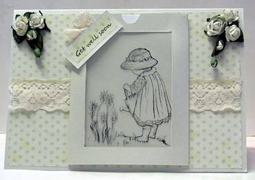 Small Girl with Flowers made using the Magic Template - Closed