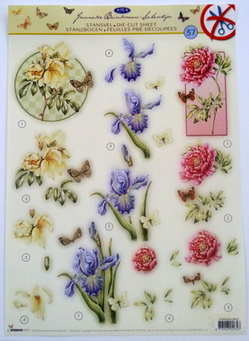 DCJBS37 - DIE CUT yellow, blue and pink flowers