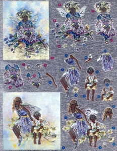DCDUFEX003- Faerie Poppets Foiled die cut decoupage ready for making into a