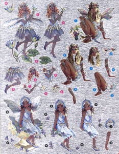 DCDUFEX004- Faerie Poppets foiled die cut decoupage ready for making into 3