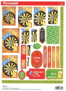 PYR SL17 Studio Light Pyramid decoupage sheet - Darts - with ribbons and ta