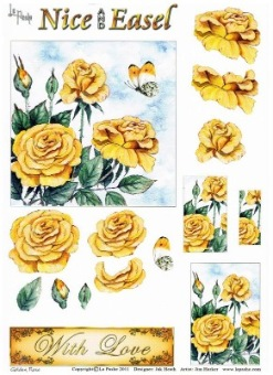 La Pashe Nice and Easel decoupage sheet - Golden Rose