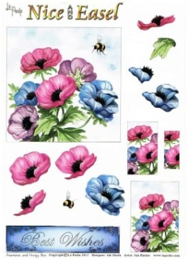 La Pashe Nice & Easel decoupage Sheet - Anemone and Honey Bee